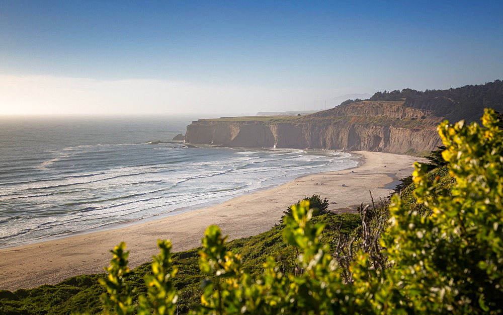 View of beach and cliffs on Highway 1 near Davenport, California, United States of America, North America
