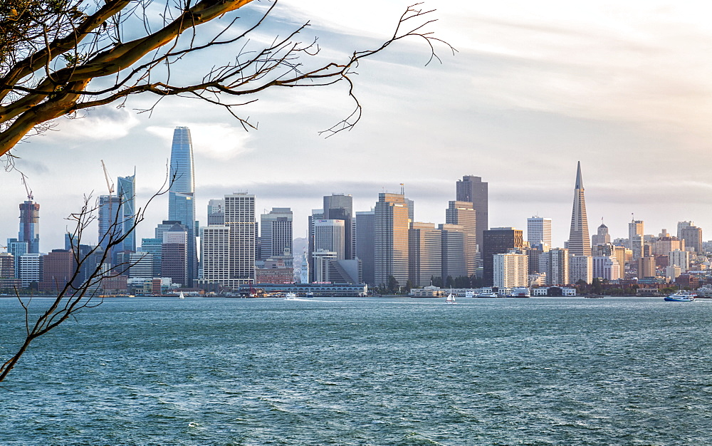 View of San Francisco skyline from Treasure Island at sunset, San Francisco, California, United States of America, North America