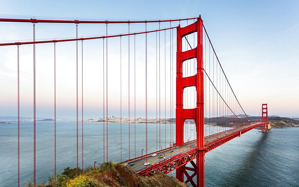View of Golden Gate Bridge from Golden Gate Bridge Vista Point at sunset, San Francisco, California, USA, North America - 1276-426