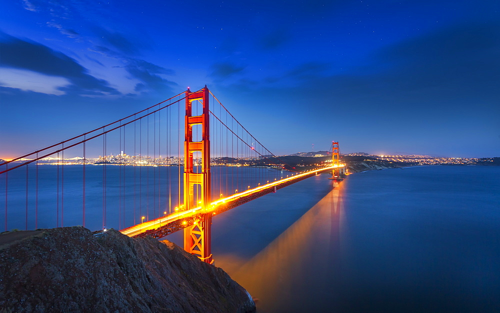 View of Golden Gate Bridge from Golden Gate Bridge Vista Point at night, San Francisco, California, USA, North America - 1276-429