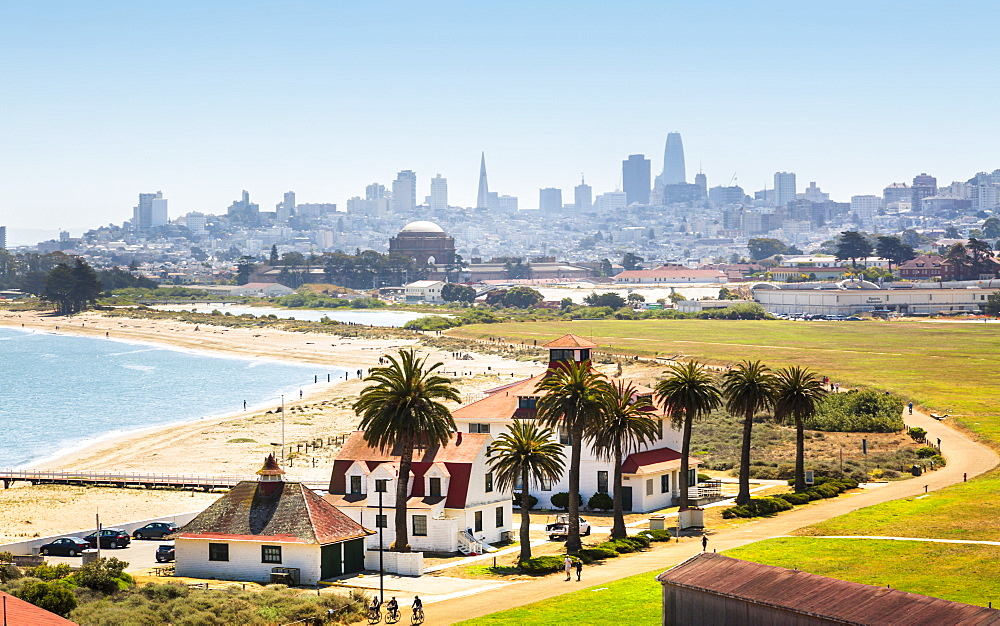 Crissy Field East Beach and skyline of San Francisco, California, United States of America, North America