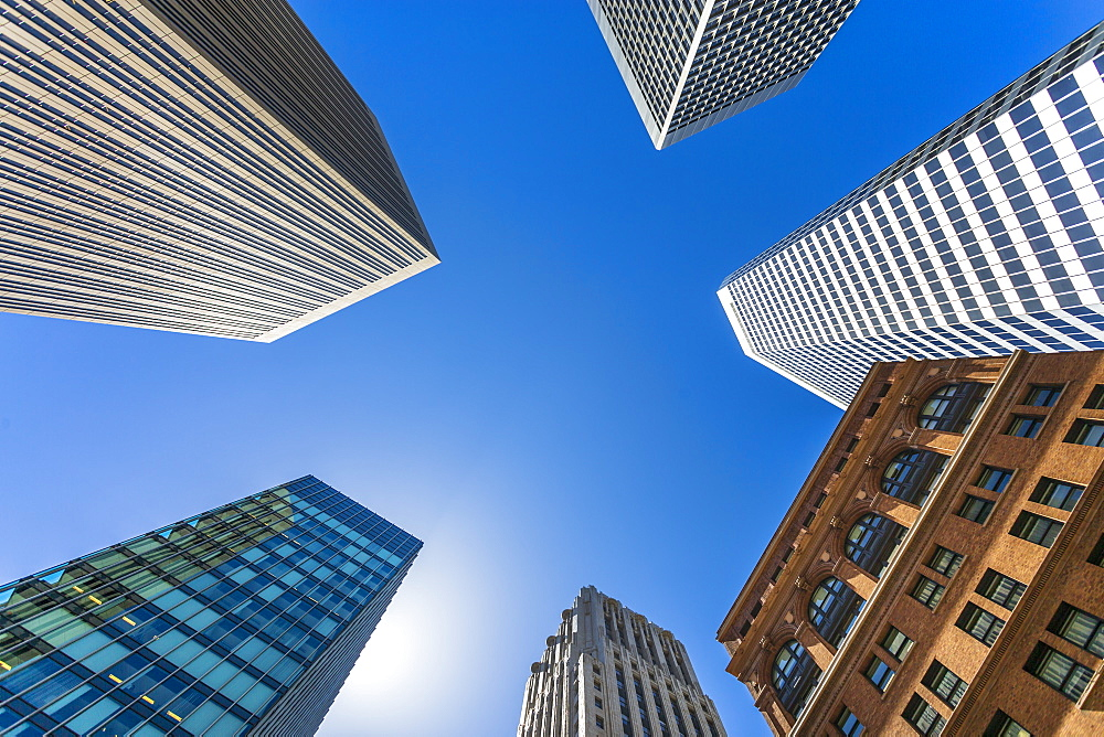 Tower buildings, worm's-eye view, San Francisco, California, United States of America, North America