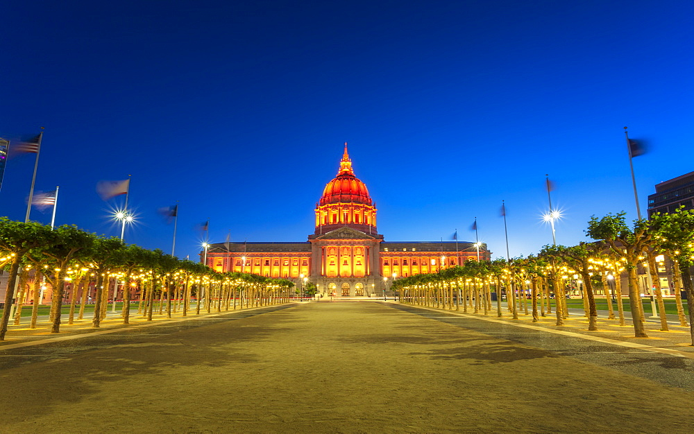 View of San Francisco City Hall illuminated at night, San Francisco, California, United States of America, North America