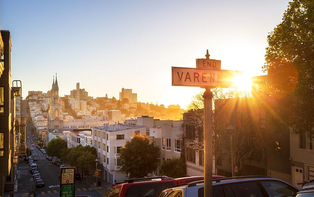 Sunset over Saints Peter and Paul Church, San Francisco, California, United States of America, USA