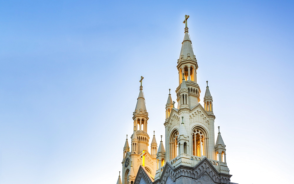 St. Peter and Paul Church at sunset, San Francisco, California, United States of America, North America