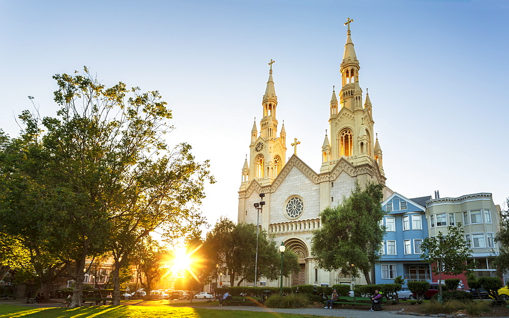 Saints Peter and Paul Church at sunset, San Francisco, California, United States of America, USA