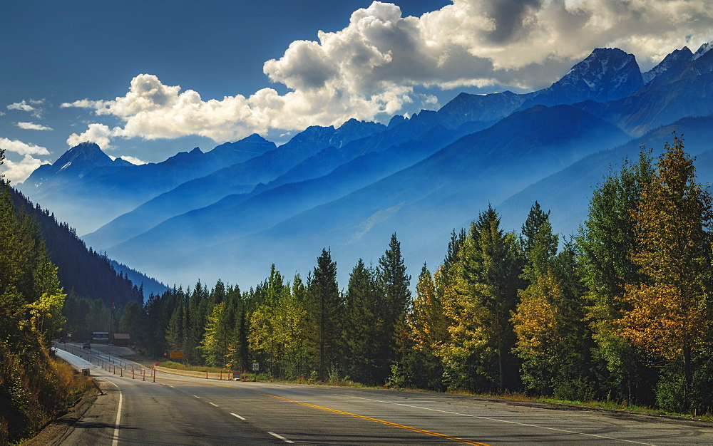 Scenic view of the mountains aligning the Trans Canada Highway in Glacier National Park, British Columbia, Canada, North America