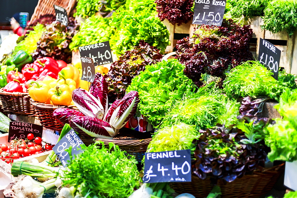 Fruit and vegetables on stall in Borough Market, Southwark, London, England, United Kingdom, Europe