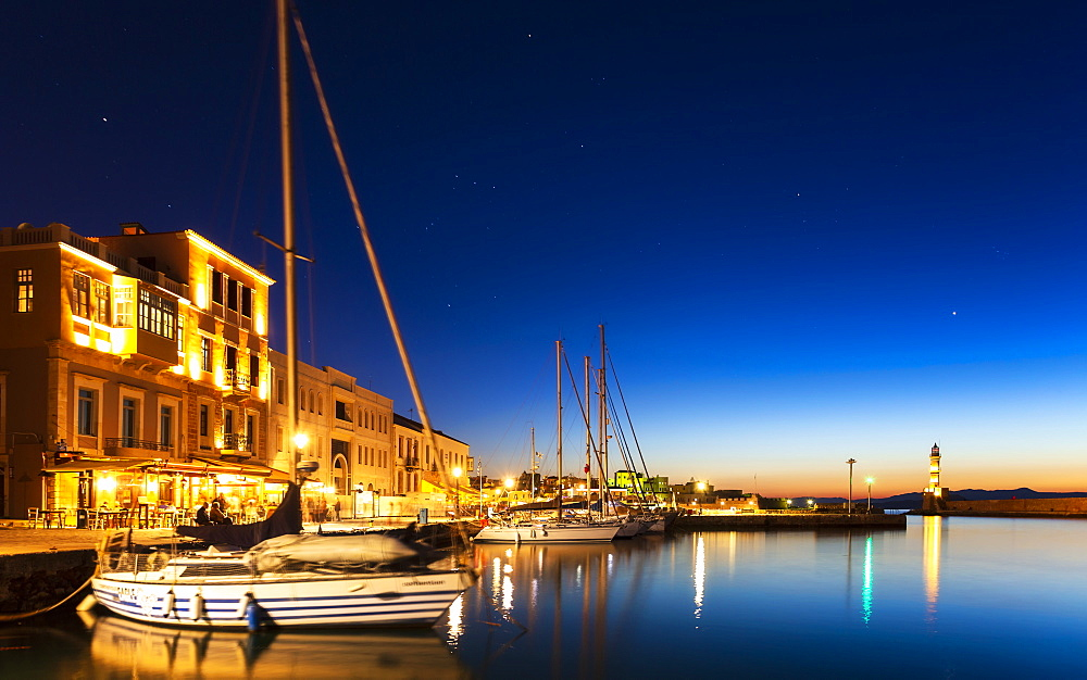 The Venetian Harbour at night, Chania, Crete, Greek Islands, Greece, Europe