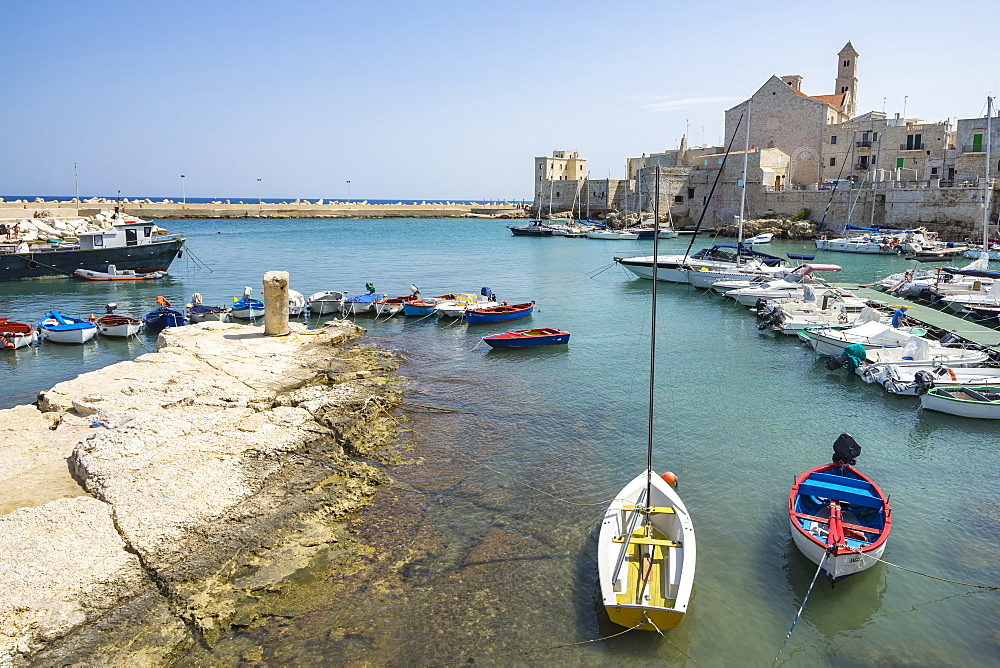 Colorful boats moored at Giovinazzo harbour, Apulia, Italy - 1277-10