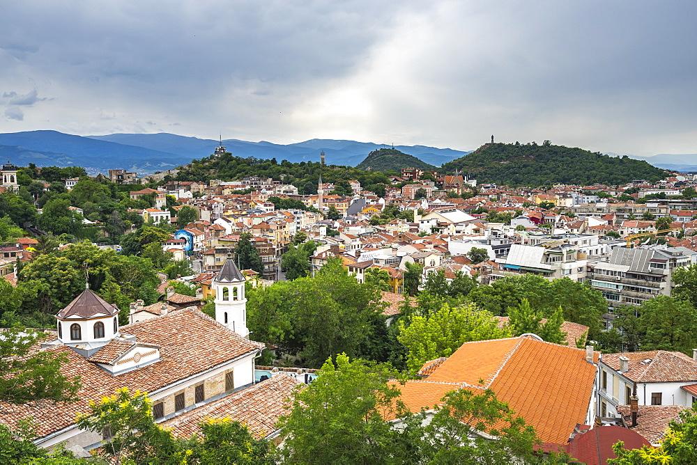 Plovdiv cityscape from Nebet Thepe hill, Bulgaria