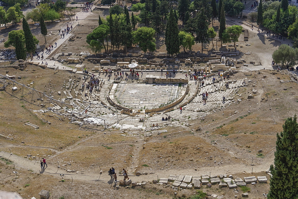 Theatre of Dionysus viewed from Acropolis Hill, Athens, Greece, Europe - 1278-10