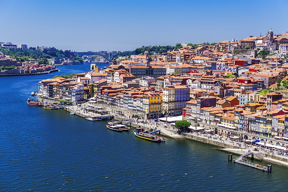 The Douro River banks with waterfront houses and boats seen from Dom Luis I Bridge, Porto, Portugal, Europe - 1278-160