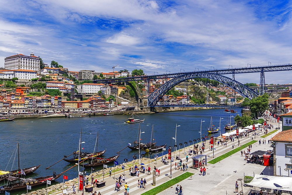 View of Dom Luis I Bridge over Douro River and Vila Nova de Gaia waterfront with Porto wine ships and Ribeira view, Porto, Portugal, Europe - 1278-168