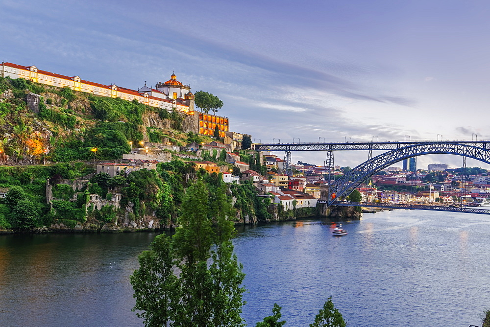 View of Monastery of Saint Augustine of Serra do Pilar and Dom Luis Bridge over the Douro River in the evening, Porto, Portugal, Europe