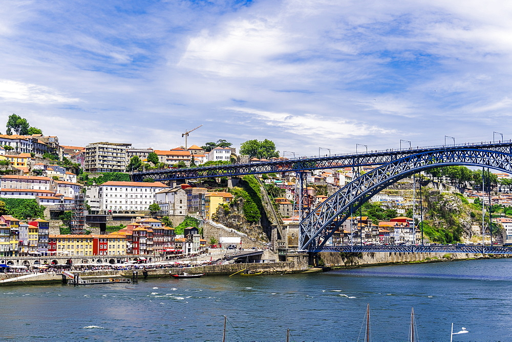 View of Dom Luis I bridge over Douro River and Ribeira view with traditional buildings and Funicular of Guindais, Porto, Portugal, Europe - 1278-173