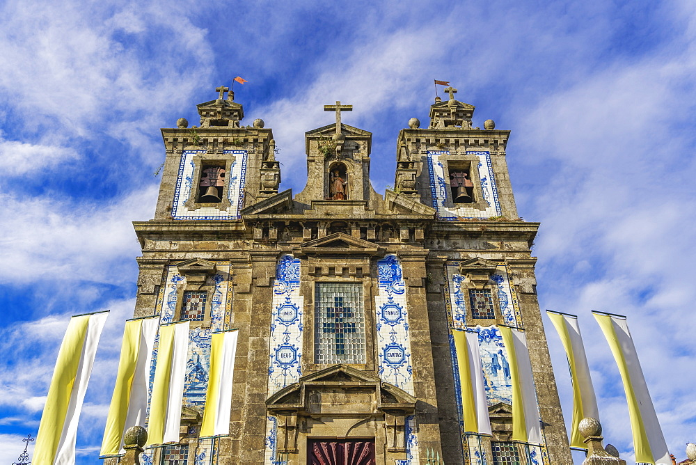 Facade of Igreja de Santo Ildefonso (Church of St. Ildelfonso) with azulejo blue and white painted ceramic tiles, Porto, Portugal, Europe - 1278-174