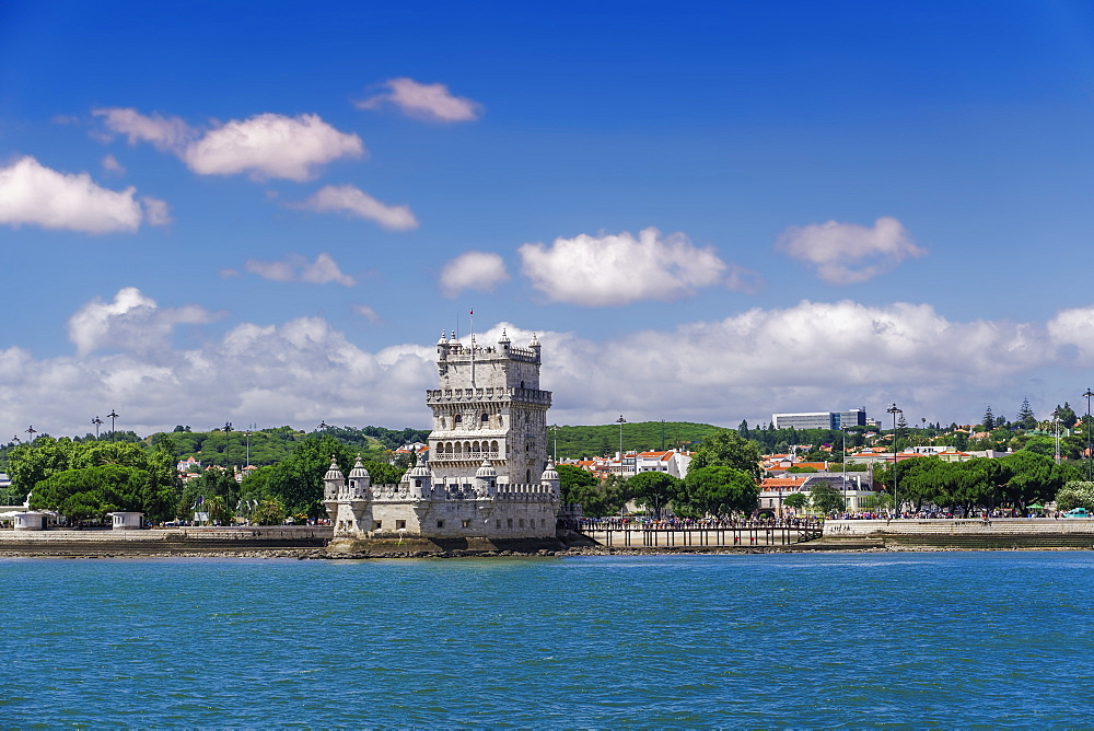 Lisbon, Portugal Belem Tower quarter facade sea view. Torre de Belem medieval defensive tower on the bank of Tagus River. - 1278-191