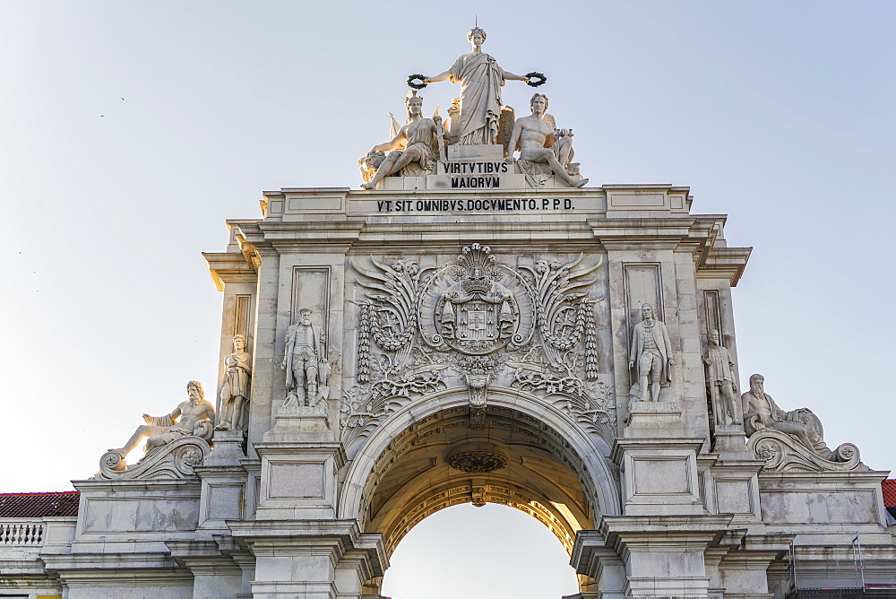 Rua Augusta triumphal Arch, statue detail with Glory rewarding Valor and Genius, seen from Commerce Square, Lisbon, Portugal, Europe - 1278-197