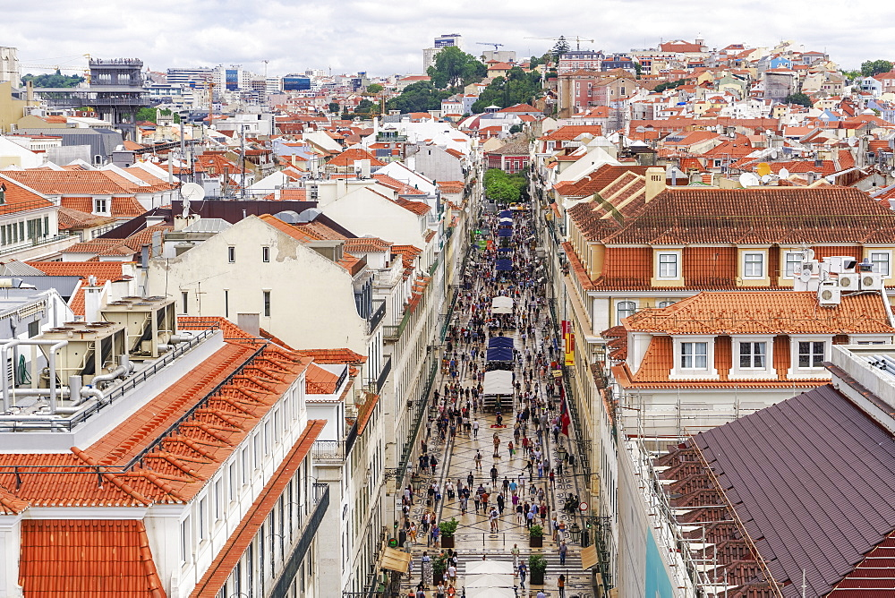 Rua Augusta seen from Arco viewpoint and pedestrian zone with traditional buildings and Santa Justa Lift to the left, Lisbon, Portugal, Europe - 1278-198