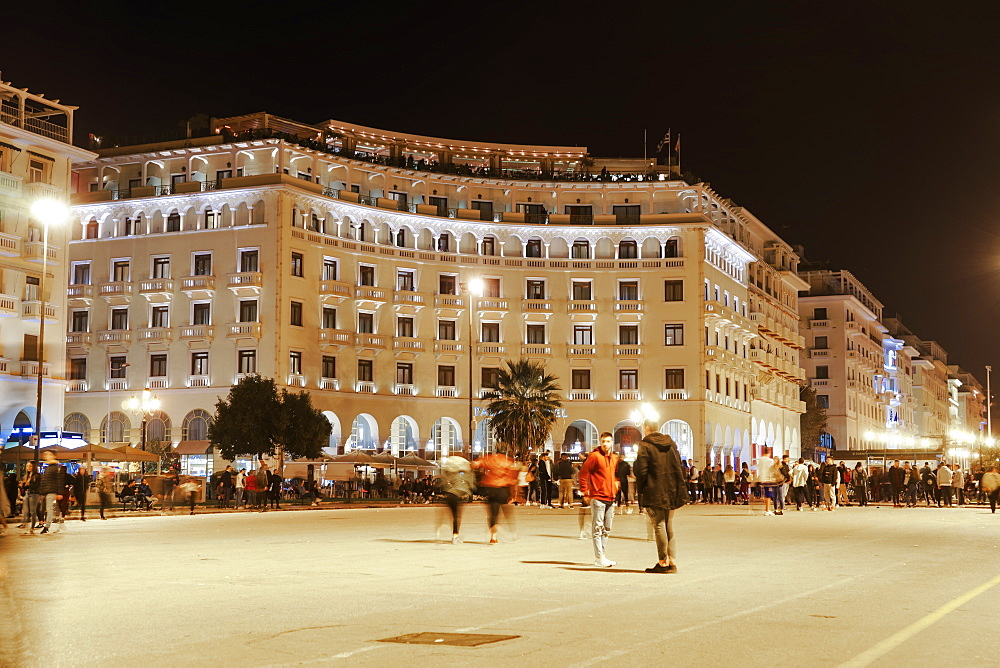 Aristotelous Square, the main square with illuminated historical buildings, Thessaloniki, Greece, Europe - 1278-199