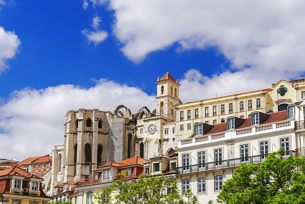 Lisbon, Portugal external day view of Carmo Convent apse and surrounding buildings, seen from Rossio Square. - 1278-213