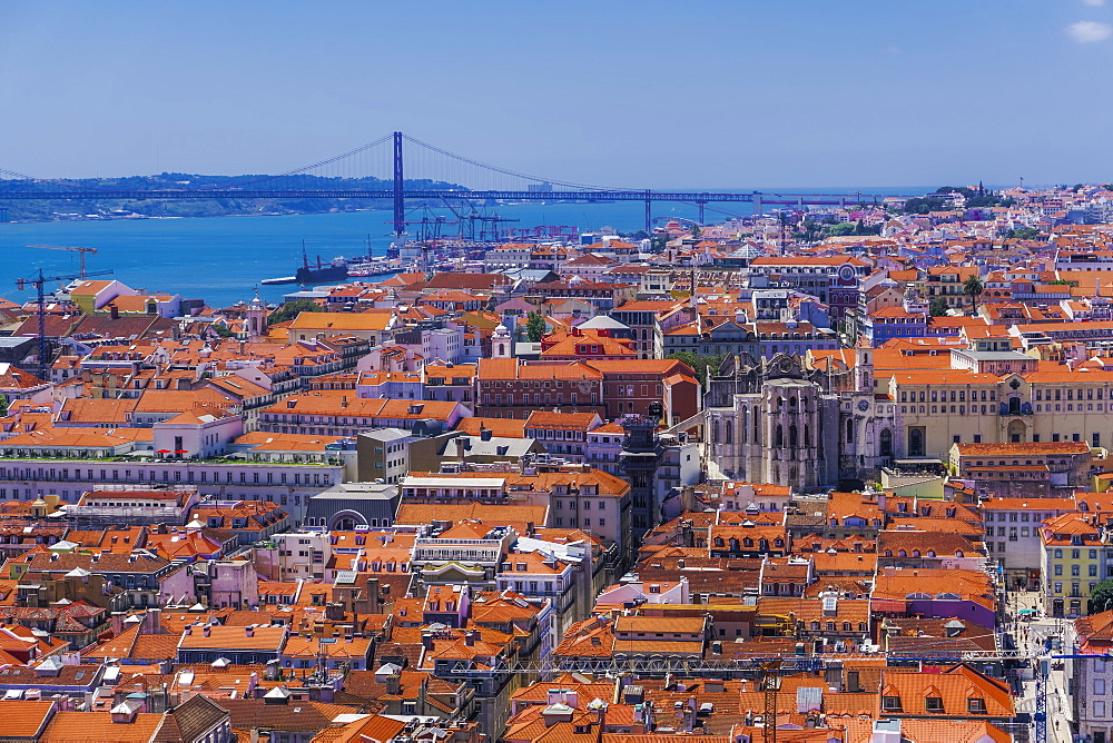 Lisbon, Portugal landmarks day view. Panoramic capital view of Carmo Convent, Santa Justa Lift and Ponte 25 de Abril bridge. - 1278-215