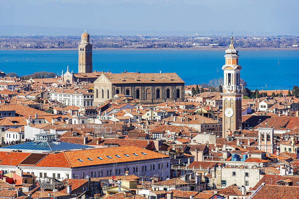 Venice Italy rooftops panoramic day city north view with low rise buildings with red tiles, seen from Saint Marks Campanile. - 1278-221