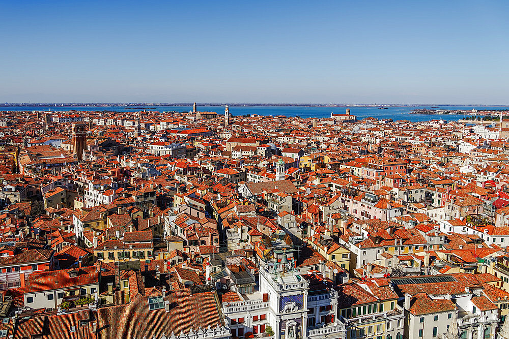 Venice Italy rooftops panoramic day city north view with low rise buildings with red tiles, seen from Saint Marks Campanile. - 1278-222