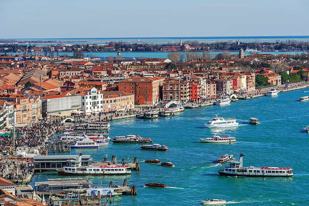 Venice Italy panoramic day view of waterfront with boats & low rise buildings with red tiles, seen from Saint Marks Campanile. - 1278-224