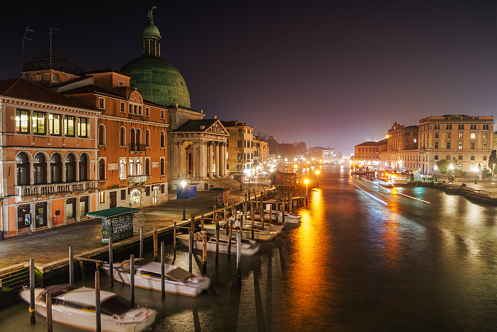 Grand Canal night view of San Simeon Piccolo with traditional buildings and wooden wharf pilings with moored boats, Venice, UNESCO World Heritage Site, Veneto, Italy, Europe - 1278-230