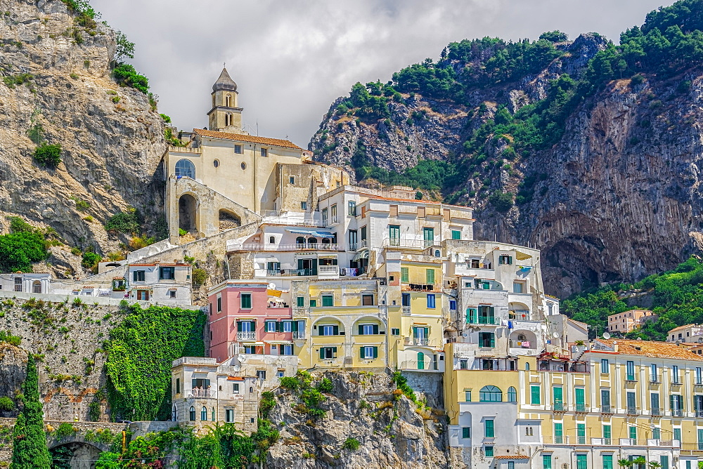View of low-rise traditional buildings and cliffs along the coastline in Costiera Amalfitana (Amalfi Coast), UNESCO World Heritage Site, Campania, Italy, Europe - 1278-233