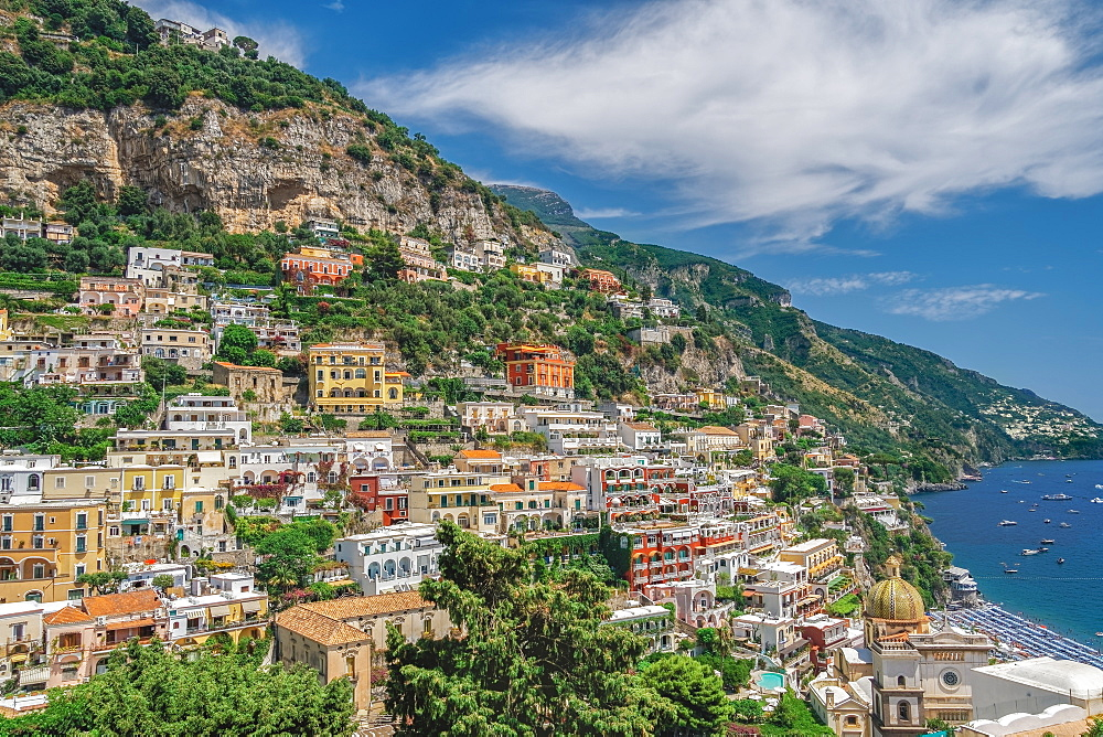 Sunny view of Positano low-rise buildings with church and cliffs, Positano, Costiera Amalfitana (Amalfi Coast), UNESCO World Heritage Site, Campania, Italy, Europe - 1278-234