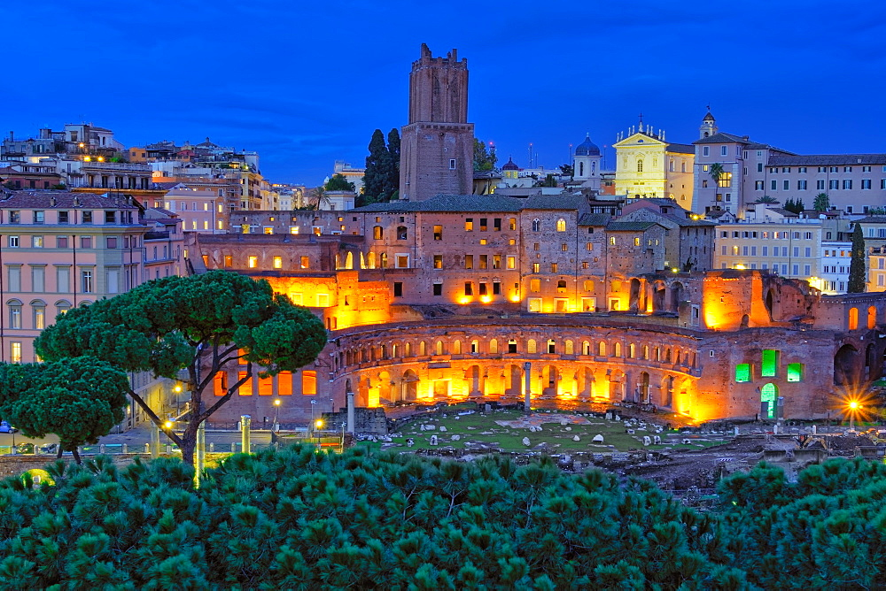 Rome, Italy Trajan???s Market - Mercati di Traiano - restored Roman forum complex blue hour elevated view.