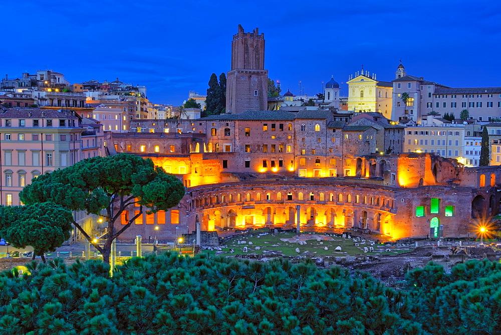 Trajans Market (Mercati di Traiano), restored Roman forum complex, UNESCO World Heritage Site, at blue hour elevated view, Rome, Lazio, Italy, Europe