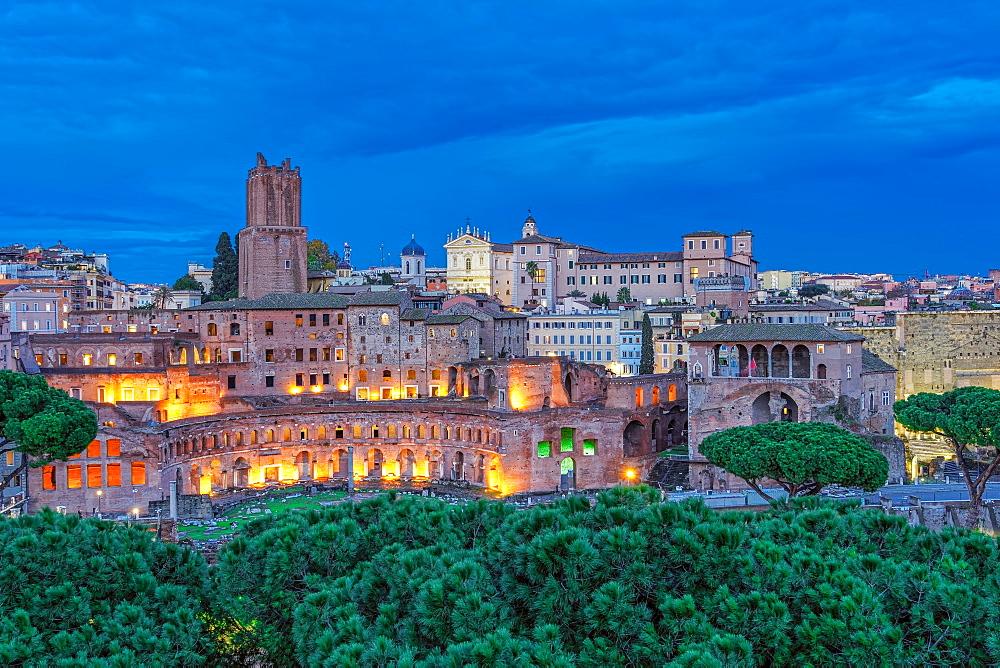 Trajans Market (Mercati di Traiano) and Casa dei Cavalieri di Rodi (House of the Knights of Rhodes) at blue hour, UNESCO World Heritage Site, elevated view, Rome, Lazio, Italy, Europe