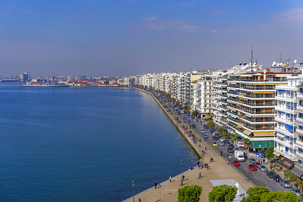 Panoramic view from the city's landmark The White Tower, of historic waterfront up to the port area, Thessaloniki, Greece, Europe - 1278-33