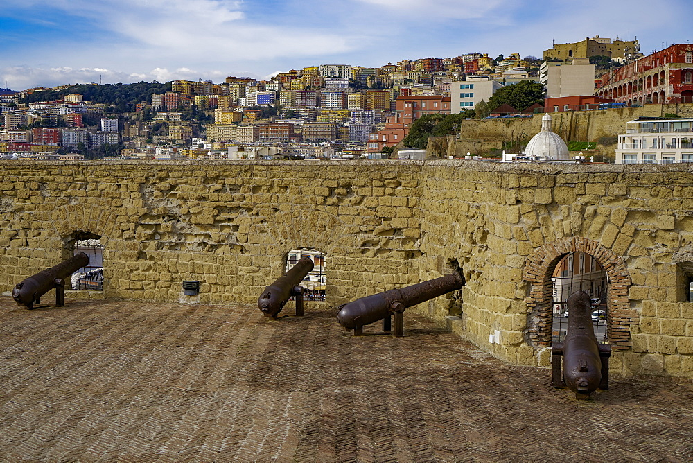Ovo Castle fortifications with canons at Castel dell Ovo islet fortress and city view at the Gulf of Napoli, Naples, Campania, Italy, Europe - 1278-65