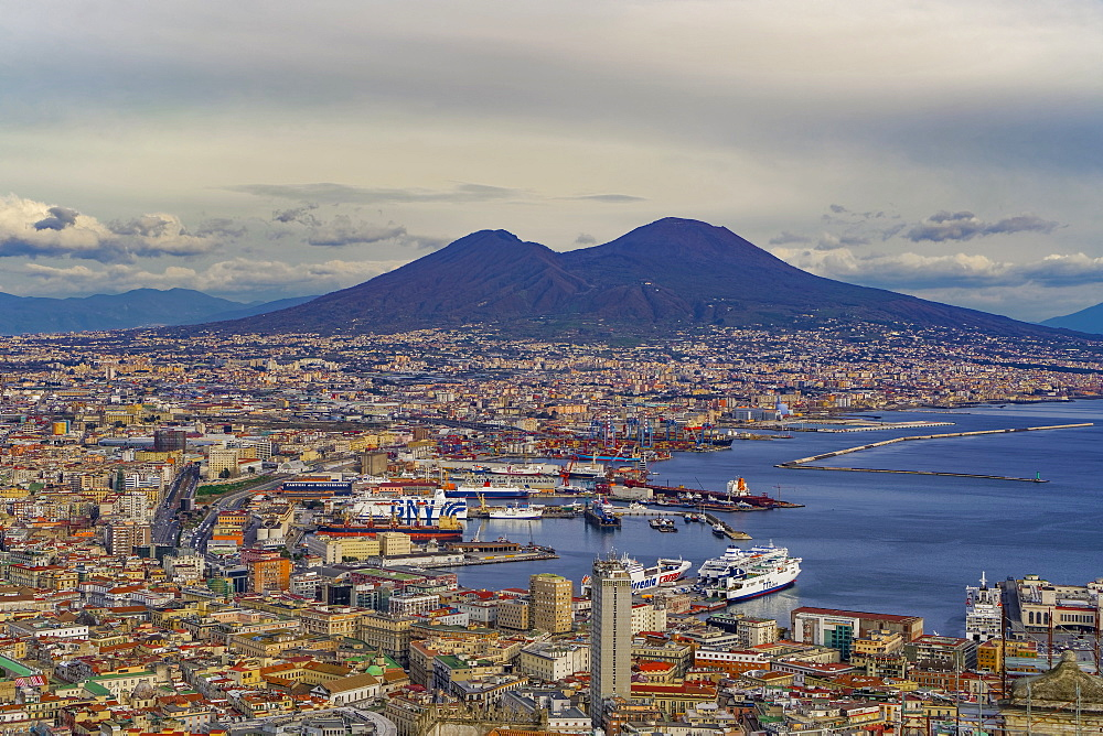 Panoramic city view over Seaport of Napoli with ships and Mount Vesuvius volcano, seen from Sant Elmo castle, Naples, Campania, Italy, Europe - 1278-68