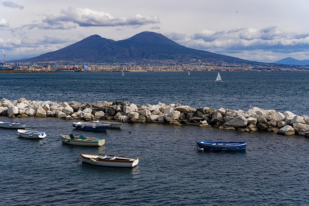 Day view of Mount Vesuvius, the active volcano, seen from the Gulf of Napoli with buildings ashore, Naples, Campania, Italy, Europe - 1278-71