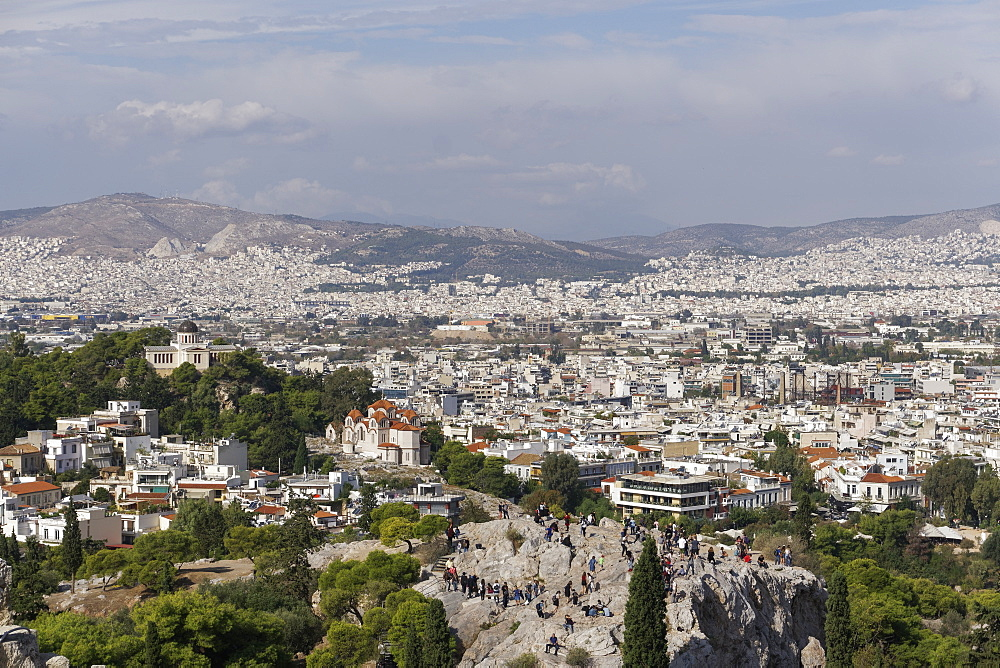 Areopagus Hill (Mars Hill), Ancient Supreme Court, view from Acropolis Hill, Athens, Greece, Europe - 1278-8