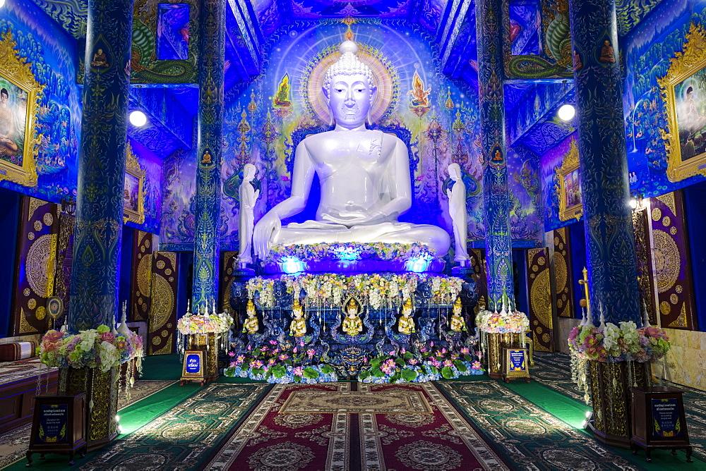 Statue of Buddha inside Wat Rong Suea Ten (Blue Temple) in Chiang Rai, Thailand, Southeast Asia, Asia - 1281-24