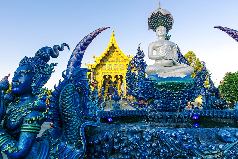 Fountain and front entrance of Wat Rong Suea Ten (Blue Temple) in Chiang Rai, Thailand, Southeast Asia, Asia - 1281-30