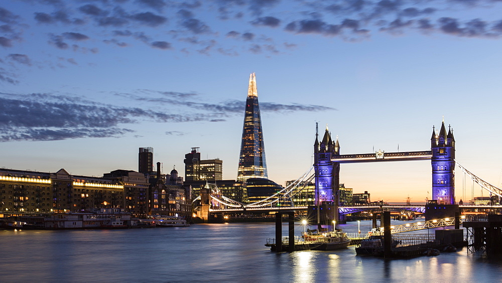 Tower Bridge and The Shard at sunset, taken from Wapping
