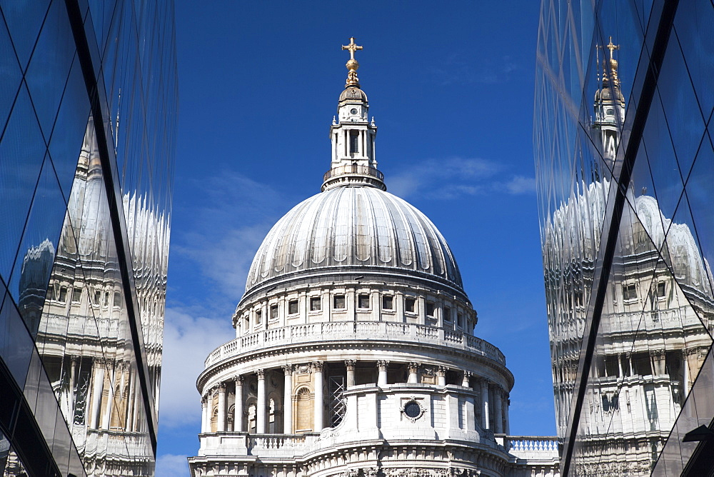 Reflections of St. Paul's Cathedral, London, England, United Kingdom, Europe - 1284-102