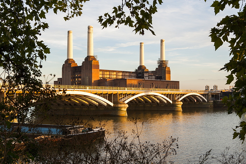 Battersea Power Station and Battersea Bridge, London, England, United Kingdom, Europe - 1284-103
