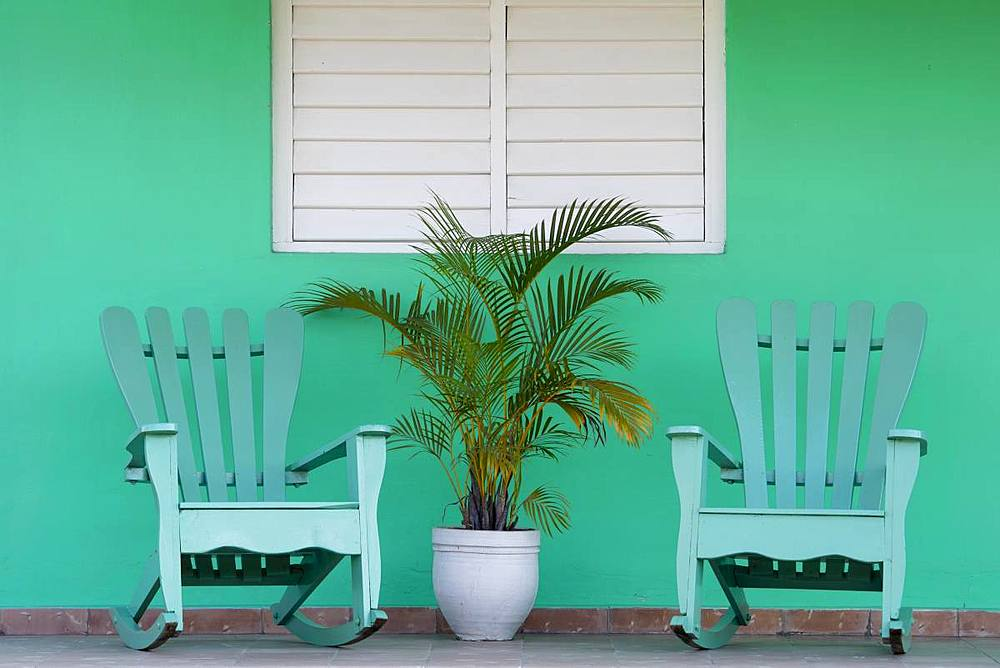 Green chairs on veranda, UNESCO World Heritage Site, Vinales, Pinar del Rio, Cuba, West Indies, Caribbean, Central America - 1284-105