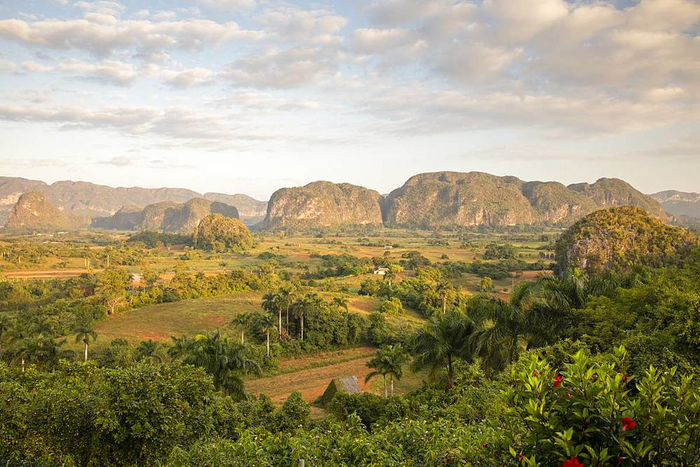 Sunrise view of Vinales Valley UNESCO World Heritage Site, Vinales, Pinar del Rio, Cuba, West Indies, Caribbean, Central America