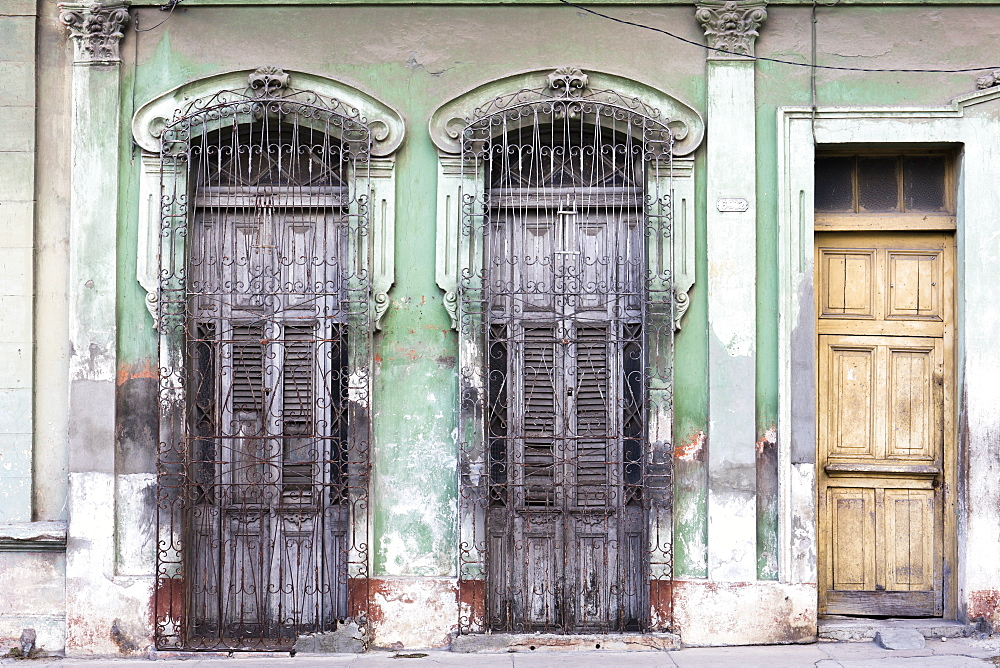 Old doorways and windows, covered by intricate metal gates, Cienfuegos, UNESCO World Heritage Site, Cuba, West Indies, Caribbean, Central America - 1284-157