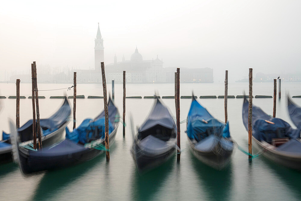 Gondolas in the fog with the Church of San Giorgio Maggiore in the background, Venice, UNESCO World Heritage Site, Veneto, Italy, Europe